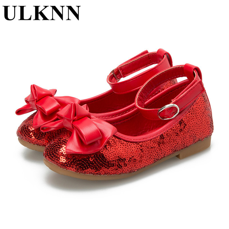 ULKNN New Children's Sandals Girls Princess Shoes Bowtie Kid's Spring Dance Shoes Red Sequins Butterfly Wedding Shoe  26-34