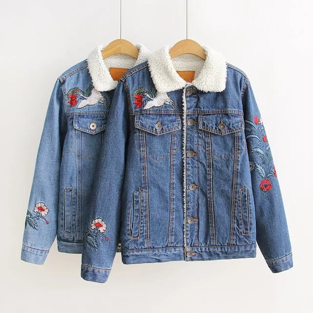 807400a77ce0 2017 Winter Vintage Denim Jacket Women Embroidered Lamb Wool Coat Patch  Design Single Breasted Jean Jacket Girl chaquetas mujer