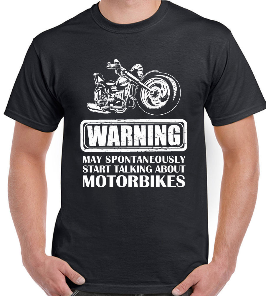 Warning Talking About motociclette Divertente da uomo t-shirt del motociclo moto