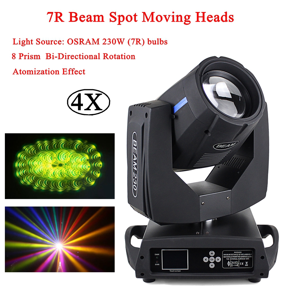 4Pcs/Lot DJ Equipment 230W 7R Spot Beam 2IN1 Moving Head Light 8 prism bi-directional dmx512 Dj Disco Party Lighting