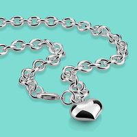 2017 New Female 925 Sterling Silver Necklace Popular Heart Pendant Necklaces Women S Solid Silver Charm