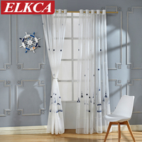 Castle Embroidered Tulle Curtains For Children Faux Linen Sheer Curtains For Living Room Cartoon Window Curtains