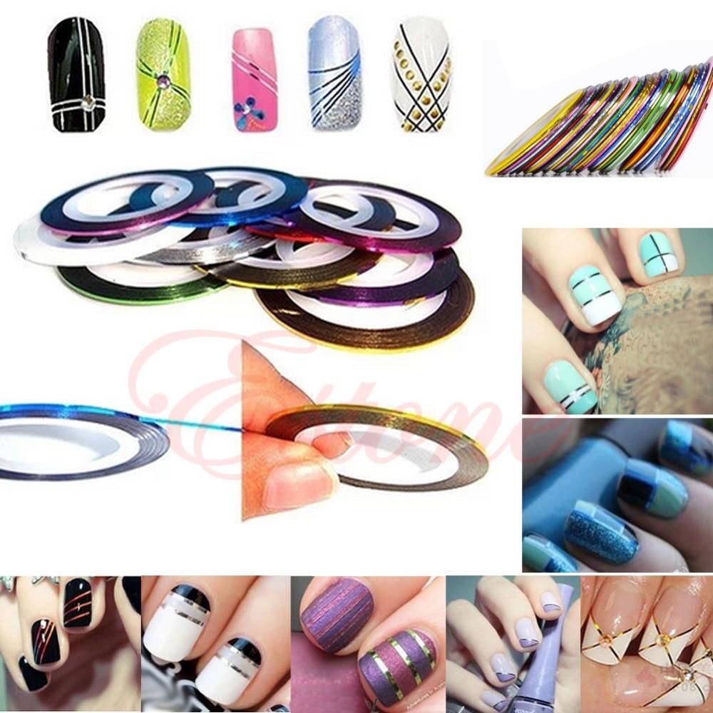 NºYAS New Hot 10Pcs Mixed Colors Nail Rolls Striping Tape Line Nail ...
