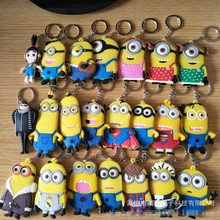 Anime Cosplay keychain Gru minions Charm PVC Pendant Car keyring bags hanging jewelry Llavero Chaveiro gift Party accessories(China)