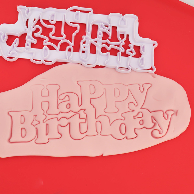 333 LIMITOOLS Happy Birthday Plastic Candy Stencils Biscuits Cookie Cutter Mold Cake Fondant