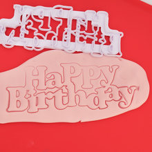 333# LIMITOOLS Happy Birthday Plastic Candy Stencils Biscuits Cookie Cutter Mold SugarCraft Cake Fondant Mold Cake Dessert Tools(China)