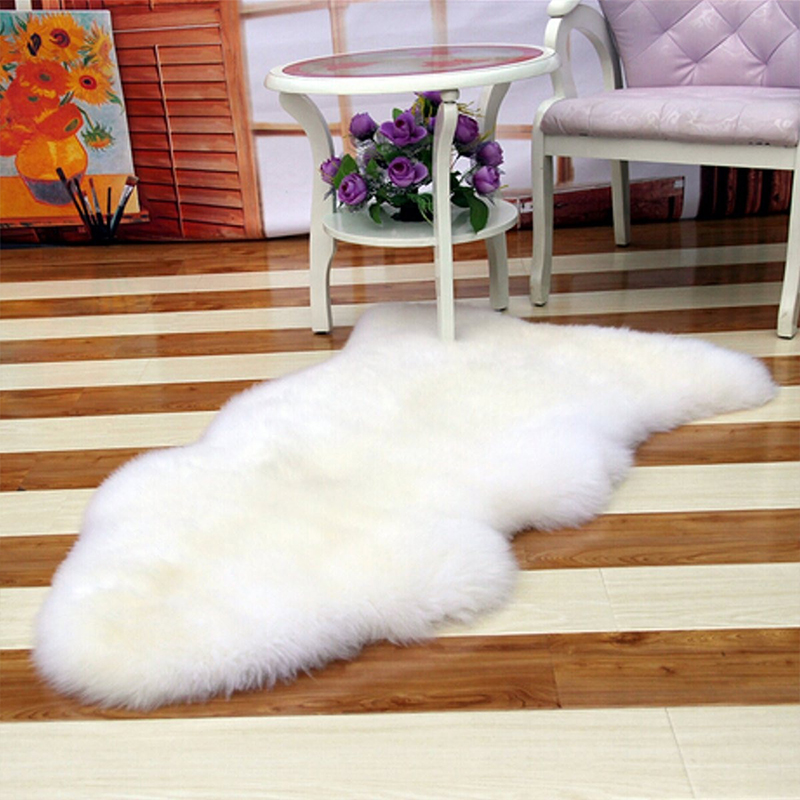 Washable Fluffy Wool 2-in-1 Chair Seat Carpet Pad Plain Rug Mat Bedroom