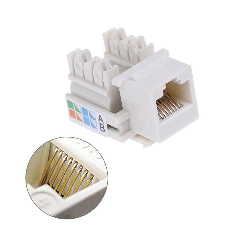White KEYSTONE Style Computer Outlet Ethernet RJ45 Cat5e Network Data Jack