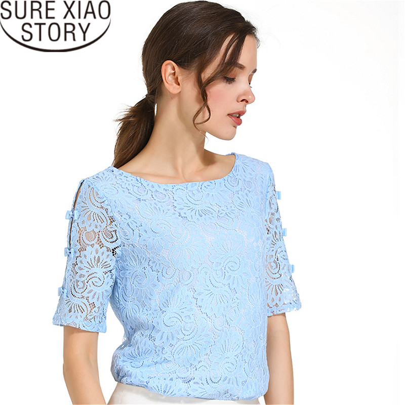 Fashion 2019 lace women   blouses     shirt   summer short sleeve women tops hollow Lace   blouse   women   shirt   Female Blusas 0361 40