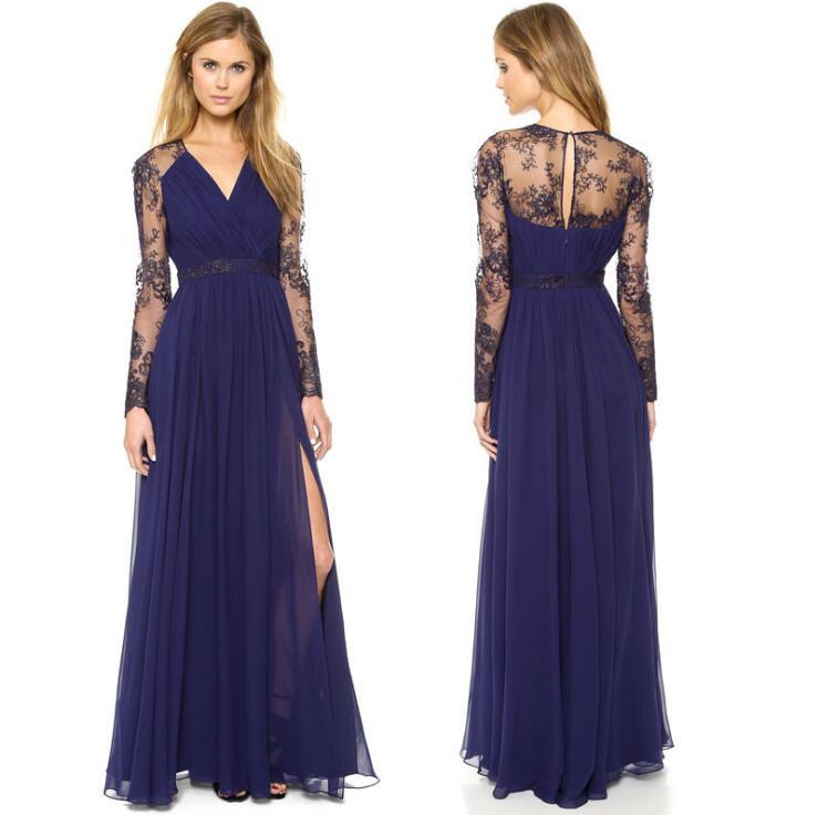 Sexy Blue Summer Elegant V Neck Long Lace Sleeve Fitted dress Women Fashion Slimming Chiffon Split Maxi Dress