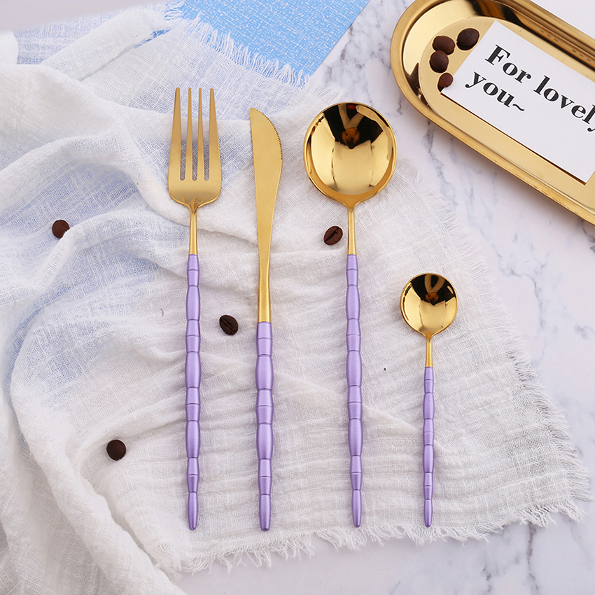 Hot Sale 4 pieces Bamboo Portugal purple and gold Dinnerware 304 Stainless Steel Western Cutlery Kitchen Food Tableware Set