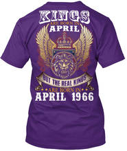 Design Shirts Kings Are Born In April 1966 Short Sleeve Gift O-Neck For Men