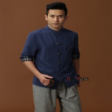 Fashion Trends Blue Chinese Men's Cotton Linen Classic Kung Fu Shirt Chinese Button Costume Tang Suit Size S M L XL XXL XXXL