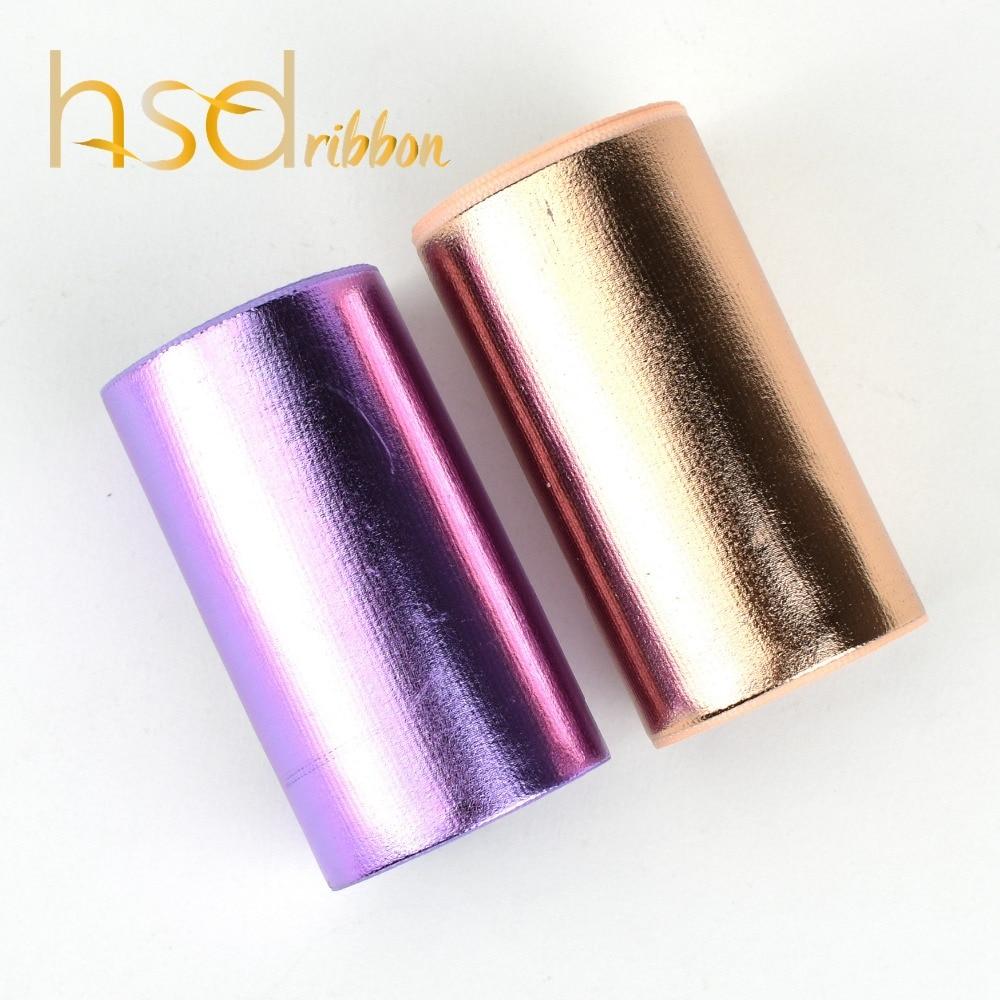 Hsdribbon 75mm 3inch Soild Purple and Rose Gold Foil on grosgrain ribbon 50Yards Roll