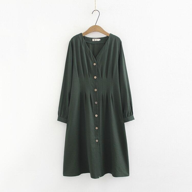 2019 nouveau printemps longue robe femmes lâche robes naturelles solide vert été dame robe surdimensionné grande taille