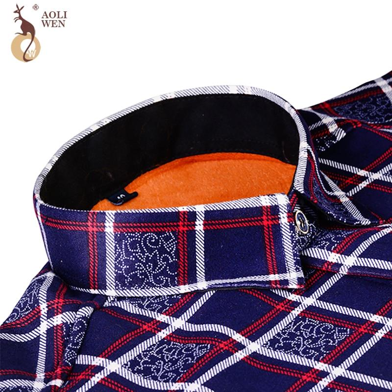 Aoliwen 2020 Fashion Men's Slim Shirts Autumn And Winter Thickening Warm Plaid 24 Colors Male Social Shirt Clothing Size M-5Xl 4
