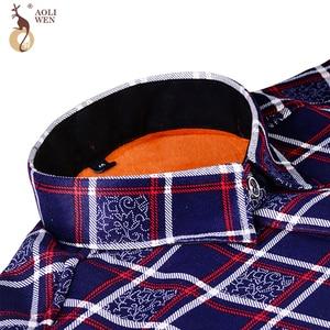 Image 4 - Aoliwen 2020 Fashion Mens Slim Shirts Autumn And Winter Thickening Warm Plaid 24 Colors Male Social Shirt Clothing Size M 5Xl