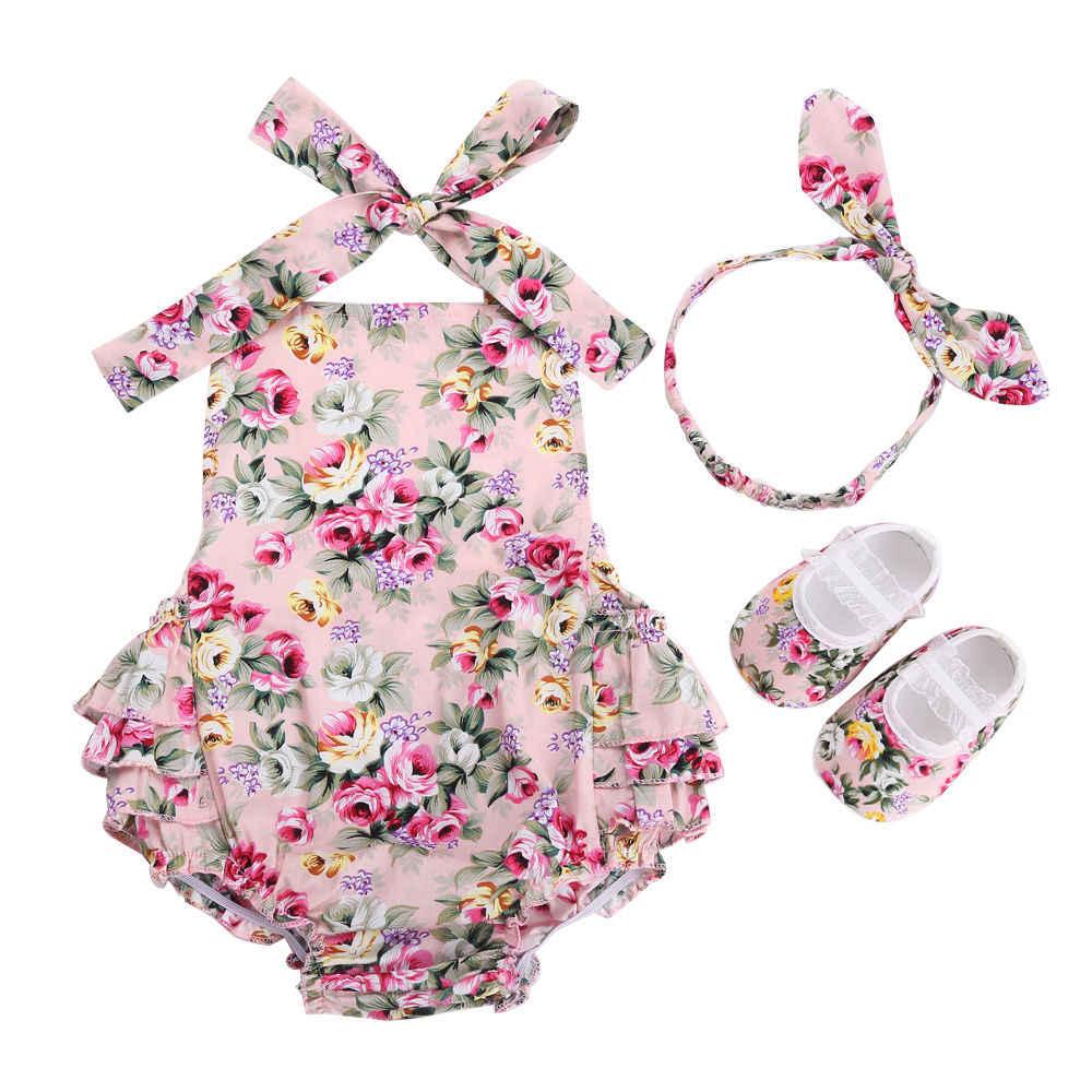 Комплект одежды для новорожденных девочек с цветочным рисунком, летняя фотография, хлопковая одежда для новорожденных, комбинезон для маленьких девочек, повязка на голову, комплект из 3 предметов
