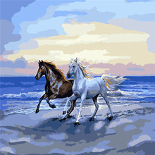 WEEN Couple Horse Pictures by number DIY Handpainted Amimal Brown and White Oil Painting For Home Decor Gift