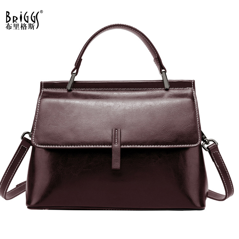 BRIGGS Split leather shoulder bag women vintage messenger bags ladies crossbody bags high quality purses and handbags design sac in Top Handle Bags from Luggage Bags