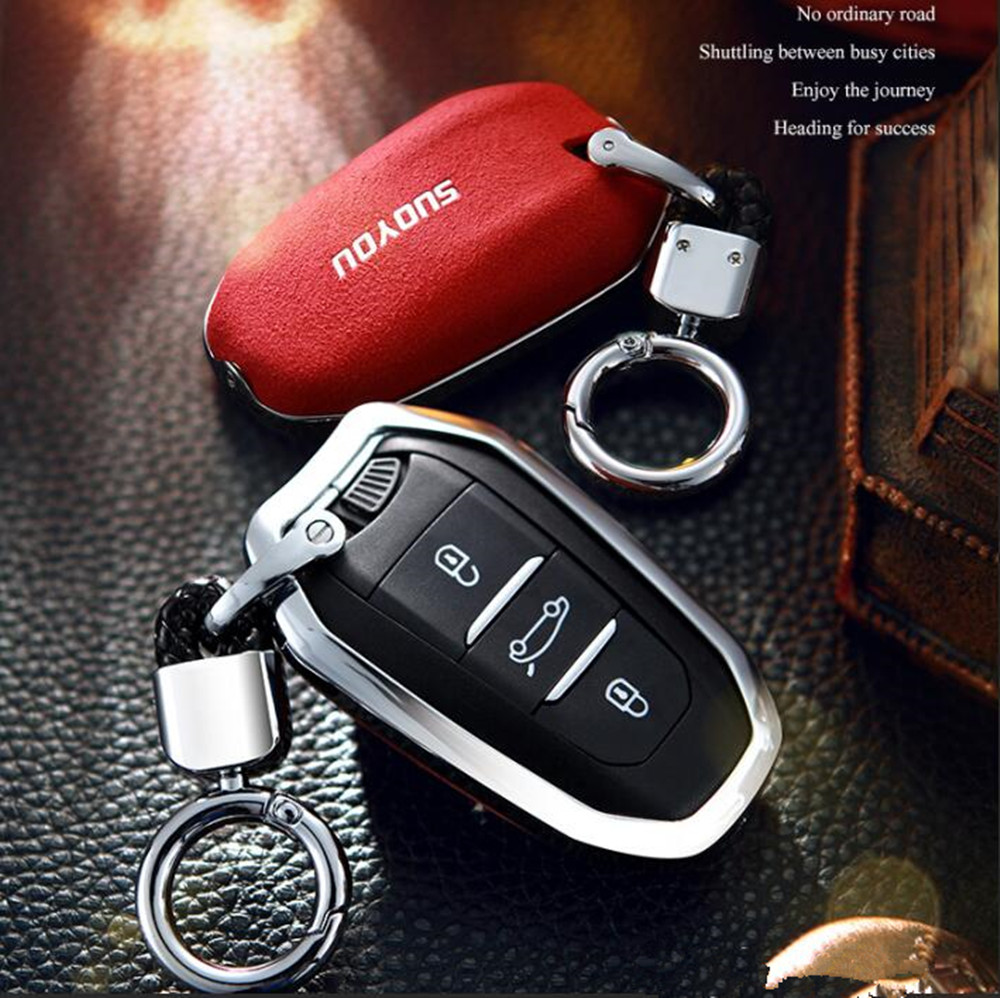Car <font><b>Key</b></font> Case <font><b>Cover</b></font> Genuine Leather Galvanized Alloy for <font><b>Peugeot</b></font> 301 308 308S 408 2008 3008 4008 <font><b>5008</b></font> Car Accessories image