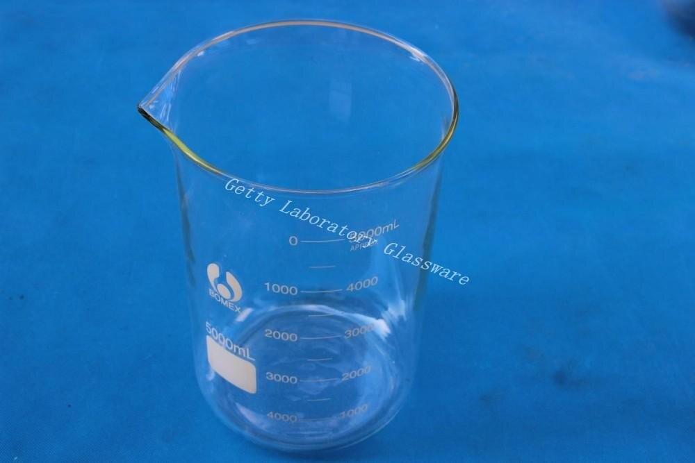 5000 ml (5 Litres) Bécher En Verre de Laboratoire, avec la bouche large, matériau en verre pyrex