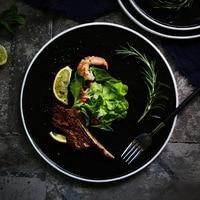 European Style Black Plate Dish Retro Matte Tableware Steak Dish Dessert Tray House Kitchen Dinnerware Ceramic Dishes Plates