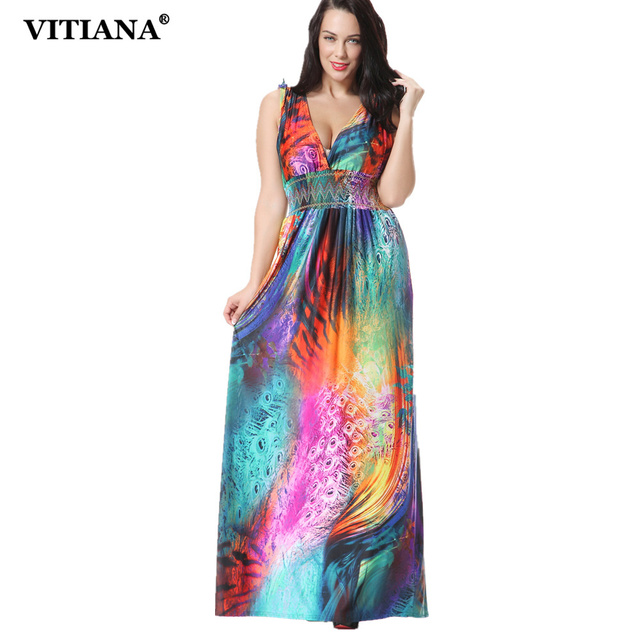 03cb51953e6 VITIANA 2017 Womens Summer Elegant Colorful Print Beach Dress Bohemian Sleeveless  Maxi Long Party Dresses Plus Size 6XL 7XL
