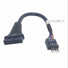 USB 3.0 20pin line to USB 2.0 9pin male pin adapter cable extension cable for computer цена