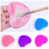 1Pc Nail Brush Cleaning Pad Cosmetic Silicone Cleaning Brush Pad Heart Shape Egg Heart Design Makeup Brush Deep Cleaning Brush