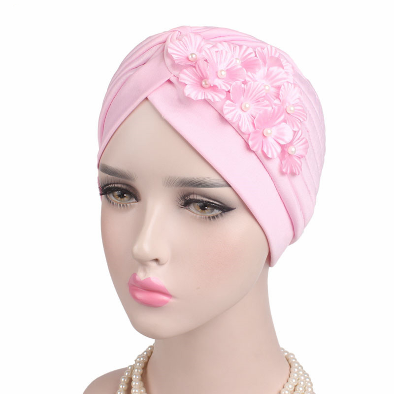 Women Elegant Classic Lady Pearls Floral Solid   Skullies   &   Beanies   Hats Windproof Female Sleep Caps Headscarf Bandanas