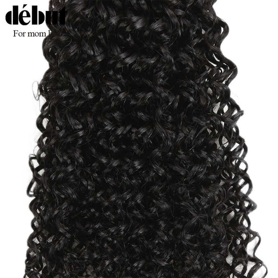 Debut Curly Human Hair With Closure 28 Inch Bundles With Frontal Brazilian Hair Weave Bundles  Kinky  Curl Hair Bundles For lady