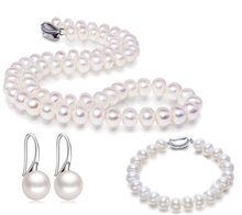 ФОТО jyx narural pearl necklace set 10.0-10.5mm round white freshwater pearl necklace bracelet and earrings jewelry set
