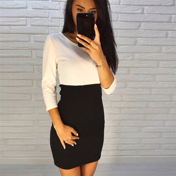 AiiaBestProducts - Autumn Summer Women Office Lady Patchwork Dresses 1