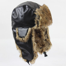 Bomber Hats  Pu Leather Faux Fur Trapper Ski Cap Winter Men Warm Russian Ushanka Hat with Ear Flap Cossack Soviet Locomotive Hat