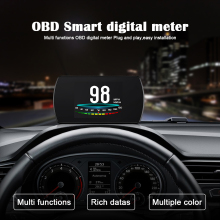 New 4.3 HD TFT Car Hud OBD2 Head Up Display Turbo Boost Gauge RPM Tachometer On-board Computer GPS Digital Speedometer 2in1 5 car hud 5 8 tft obdii head up display digital car speedometer on board computer obd2 windshield projector p12 p10 a100 a8 c500