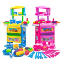 Kid S Kitchen Toys For Girls Children Food Pretend Play Cooking Set With Light Sound Water