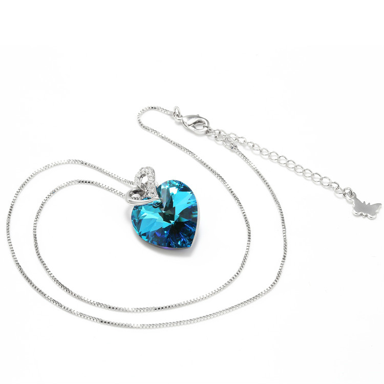 HTB18CLhbBKw3KVjSZTEq6AuRpXa3 Warme Farben Crystal from Swarovski Women Necklace Fine Jewelry Blue Heart Crystal Pendant Necklace Valentine's day Gift
