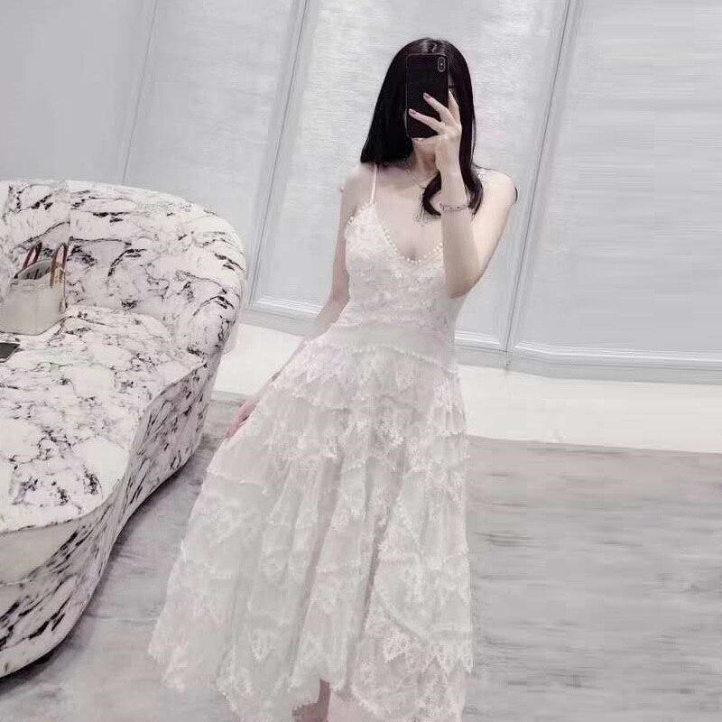 Top qualité nouveau 2019 été mode plage robe femmes Spaghetti sangle chérie broderie motif sans manches blanc robe lin