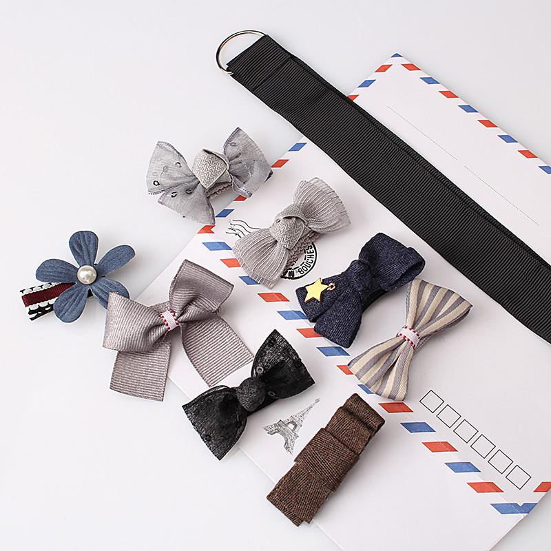 HTB18CLkOpXXXXb0XFXXq6xXFXXXF Fashionable Kids 8-Pieces Multi-Style Ribbon Bow Flower Hair Barrette Set - 5 Styles