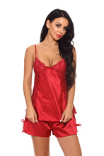 Sexy Lingerie underwear womens pajamasV-neck Lace Stitching Pajamas Sleep Pants Set