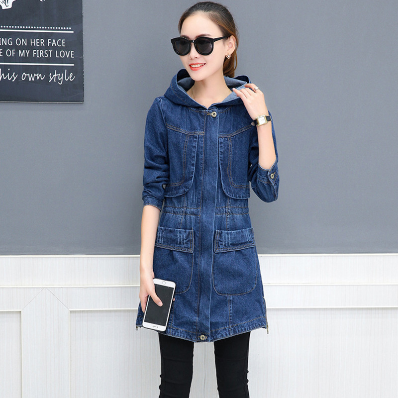 #3311 Long Denim Jacket Hooded Loose Coat Korean Fashion Long Sleeve Jeans Jacket Women  ...