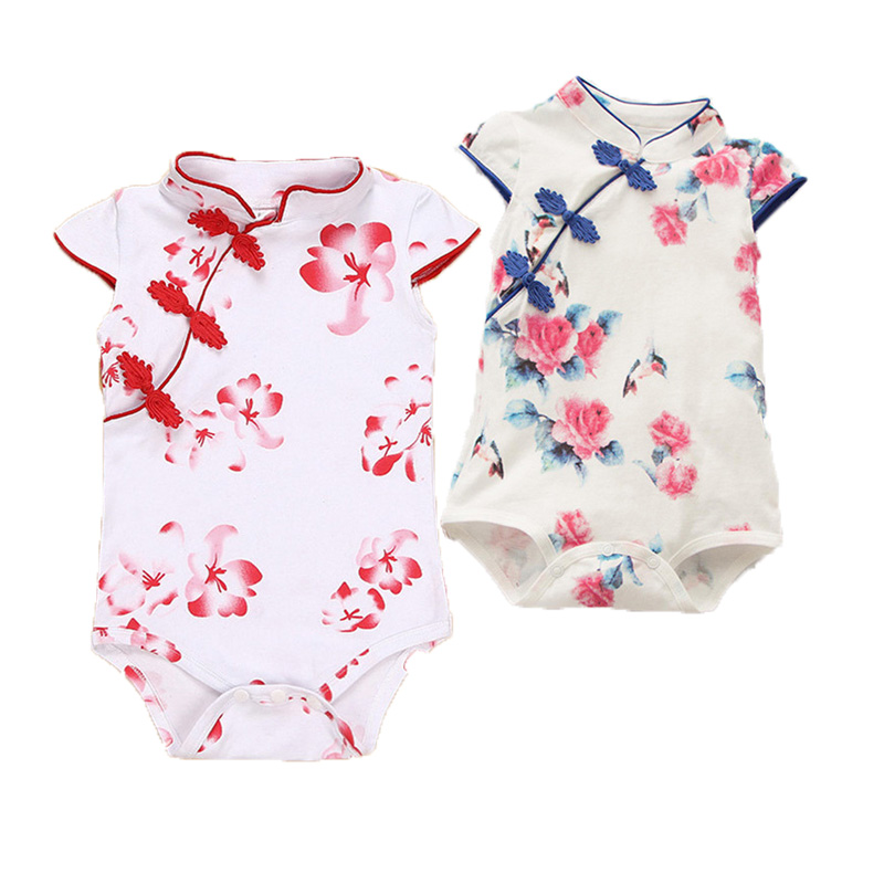 New Fashion Baby   Rompers   Summer Baby Girl Clothes Chinese Cheongsam Newborn Baby Clothing Roupas Bebe Infant Jumpsuits for Party