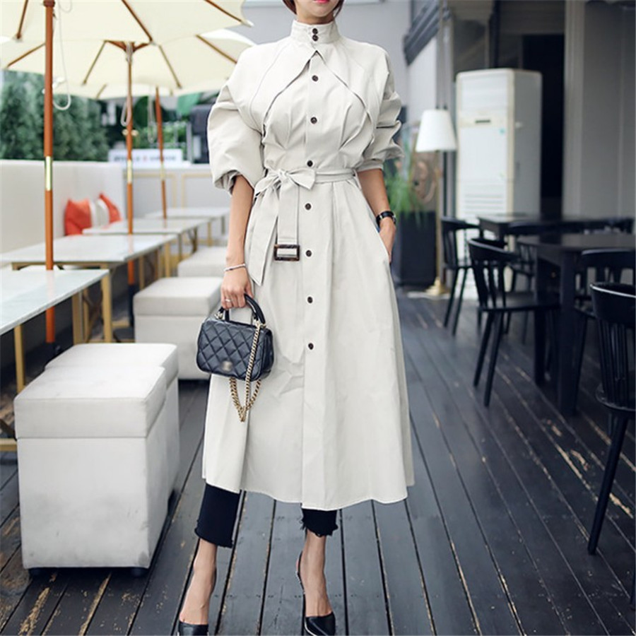 Spring Autumn Fashion Long   Trench   Coat For Women Single Breasted Windbreak Ladies Loose Sashes Chic Cloak Outerwear Ds50664