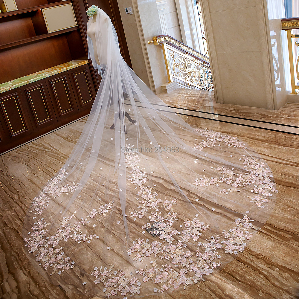 Stunning Two-Layer Luxury Lace Wedding Veil With Pink Flowers 4 Meters Long Bridal Veils With Comb AX2019