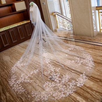 Impressionante véu de casamento de renda de luxo de duas camadas com flores cor-de-rosa 4 metros de comprimento véus de noiva com pente ax2019