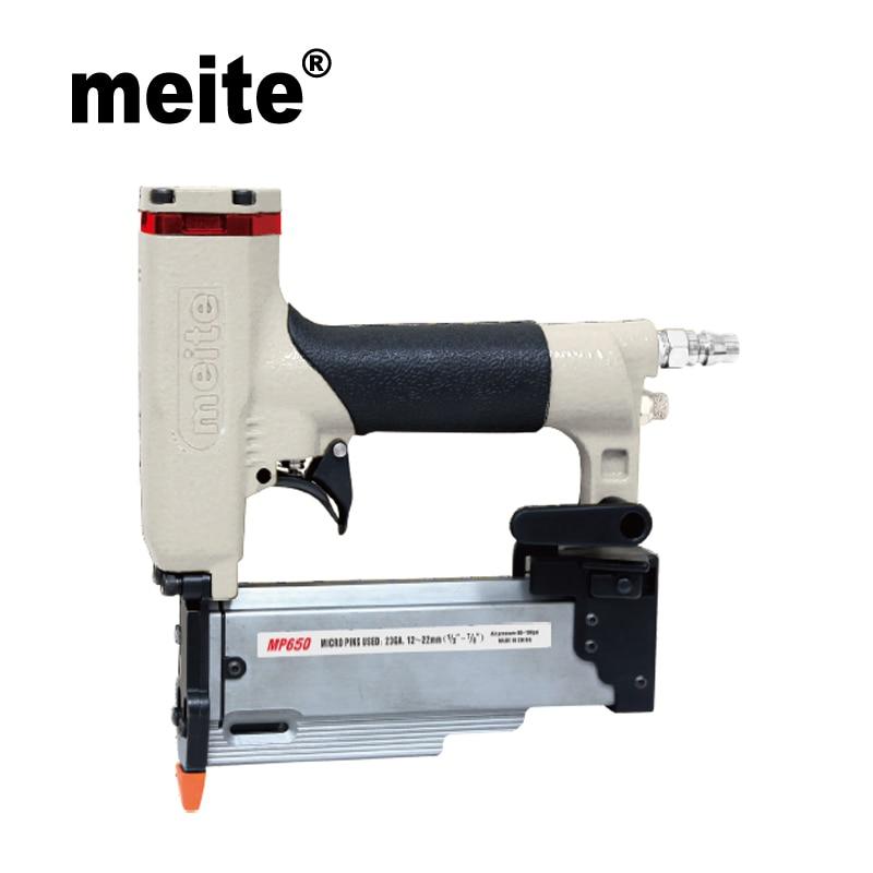 "Meite MP650 air gun 23 GA 2"" Micro pinner pneumatic nailer gun for 12-50mm diameter 0.63mm headless pins Jun.21 Update tool"