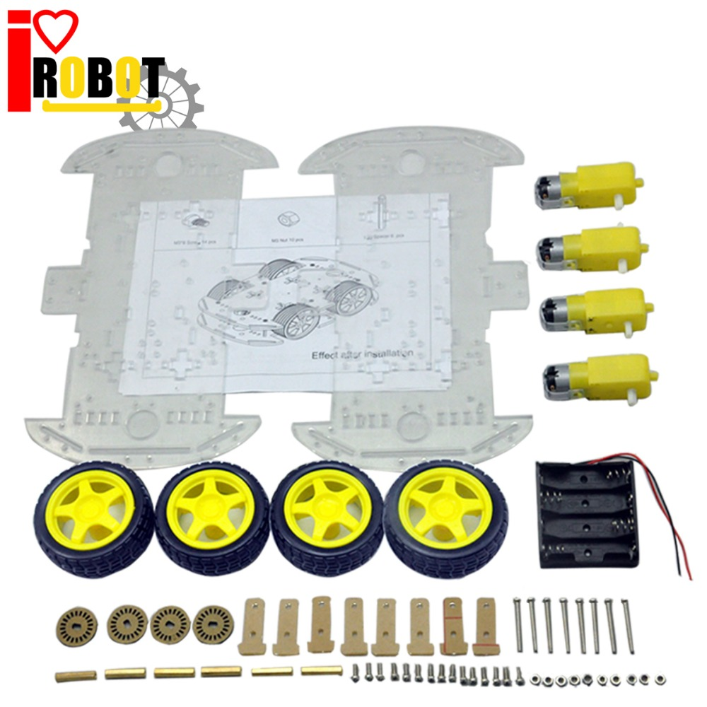Rotoup Smart Robot Chassis Kits 4WD Motor Car Wheels Robot Platform chassis For Arduino RC Avoidance Speed Encoder Battery Box мебель трия стол компьютерный студент класс м дуб сонома венге цавоtri 42455tri 42455