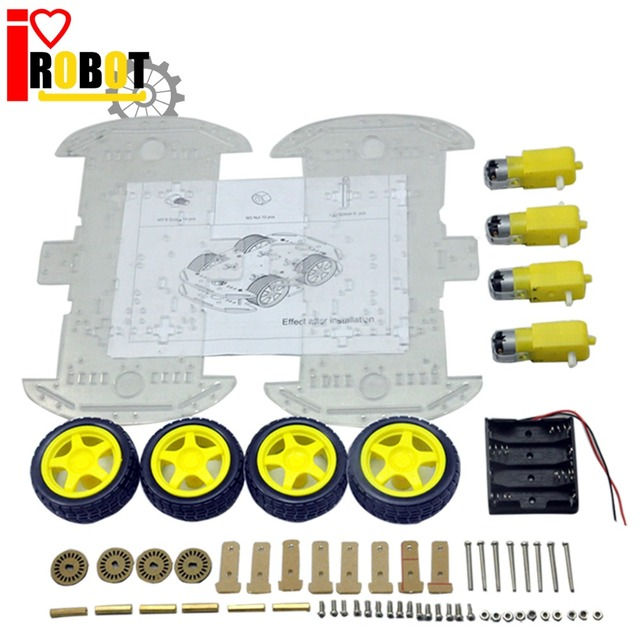 Rotoup Smart Robot Chassis Kits 4WD Motor Car Wheels Robot Platform chassis For Arduino RC Avoidance Speed Encoder Battery Box