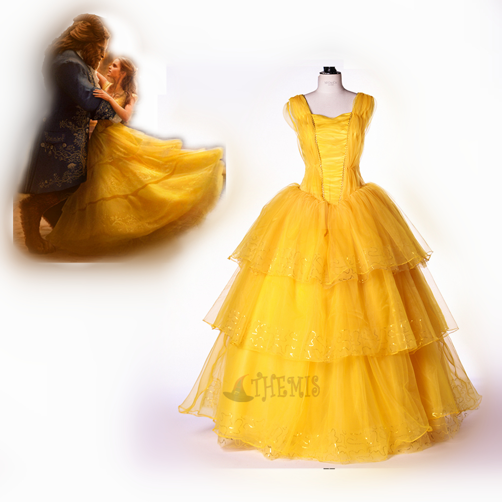 Athemis Beauty and the Beast Cosplay beauty cosplay Costume custom made pricess yellow Dress High Quality